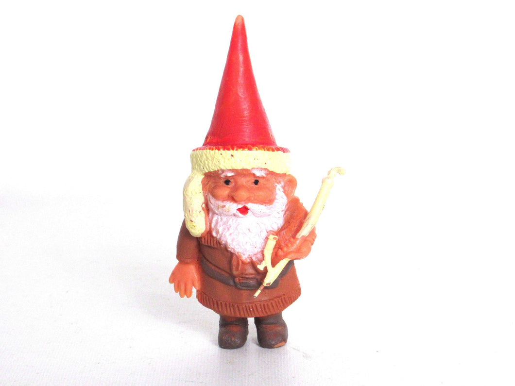 UpperDutch:,ONE David the Gnome figurine after a design by Rien Poortvliet, Brb collectible pocket gnome smoking pipe ,mini garden gnome.