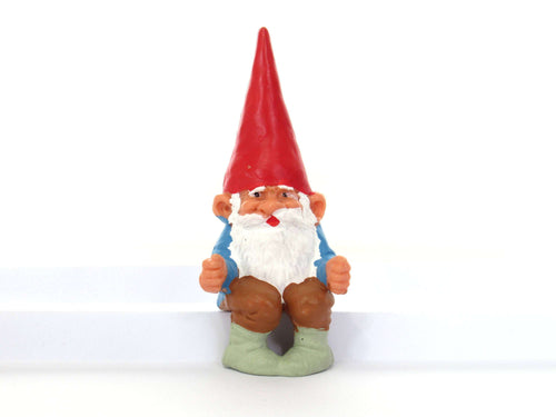 UpperDutch:Gnome,ONE David the Gnome figurine after a design by Rien Poortvliet, Brb gnome, Sitting Gnome, mini garden gnome.