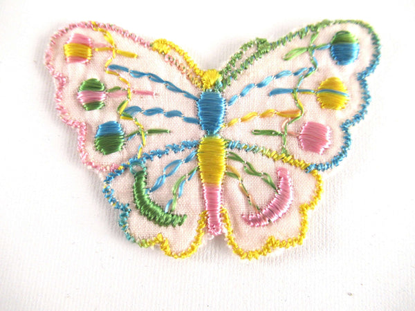 UpperDutch:Applique,Small Vintage butterfly applique, 1930s vintage embroidered applique. Vintage patch, sewing supply.