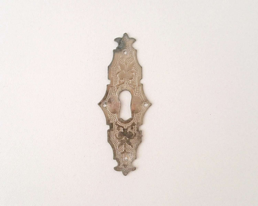 UpperDutch:Hooks and Hardware,Keyhole plate, shabby key hole frame, Antique metal Escutcheon.