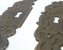 UpperDutch:Hooks and Hardware,ONE Large Antique Ornate Stamped  Keyhole Cover, Escutcheon, Floral Brass Key hole.
