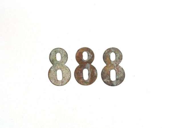 UpperDutch:Numbers,ONE Antique Eight, Number 8, Authentic Shabby Brass Number Eight. Room number / Table number