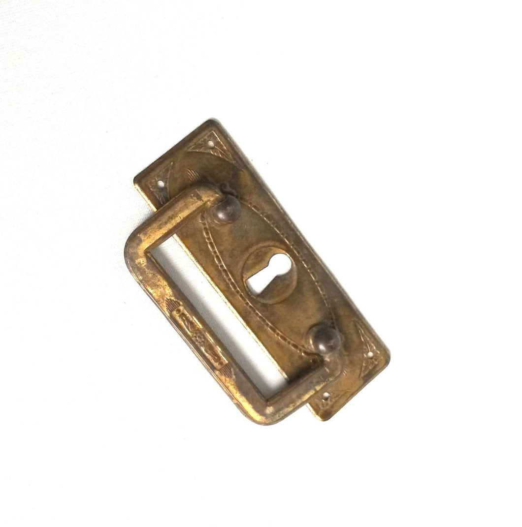UpperDutch:Hooks and Hardware,Authentic Brass Antique Keyhole cover / Drawer Handle / Old Key Hole Plate / Escutcheon / Drop pull