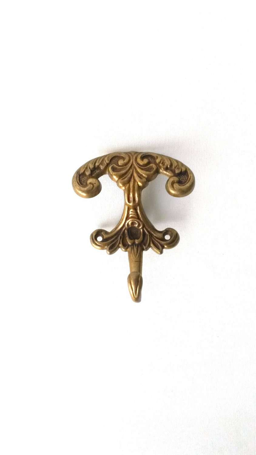 UpperDutch:Hooks and Hardware,1 (ONE) Solid Brass Ornate Coat hook. Victorian style. Storage solution. Wall Hook.