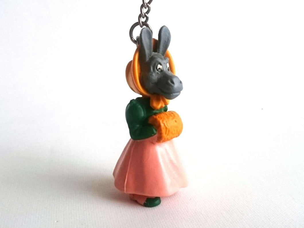 UpperDutch:Land of Magiful,Donkey key chain / dressed donkey figurine / keychain made in the sixties / 60s key chain / large zipper pull charm / bag charm