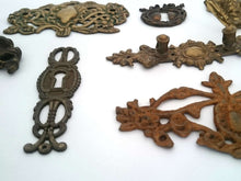 UpperDutch:Hooks and Hardware,Collection DAMAGED ornamental pieces, escutcheon covers / dragon / antique handle plates / hook, Sold as is: broken.