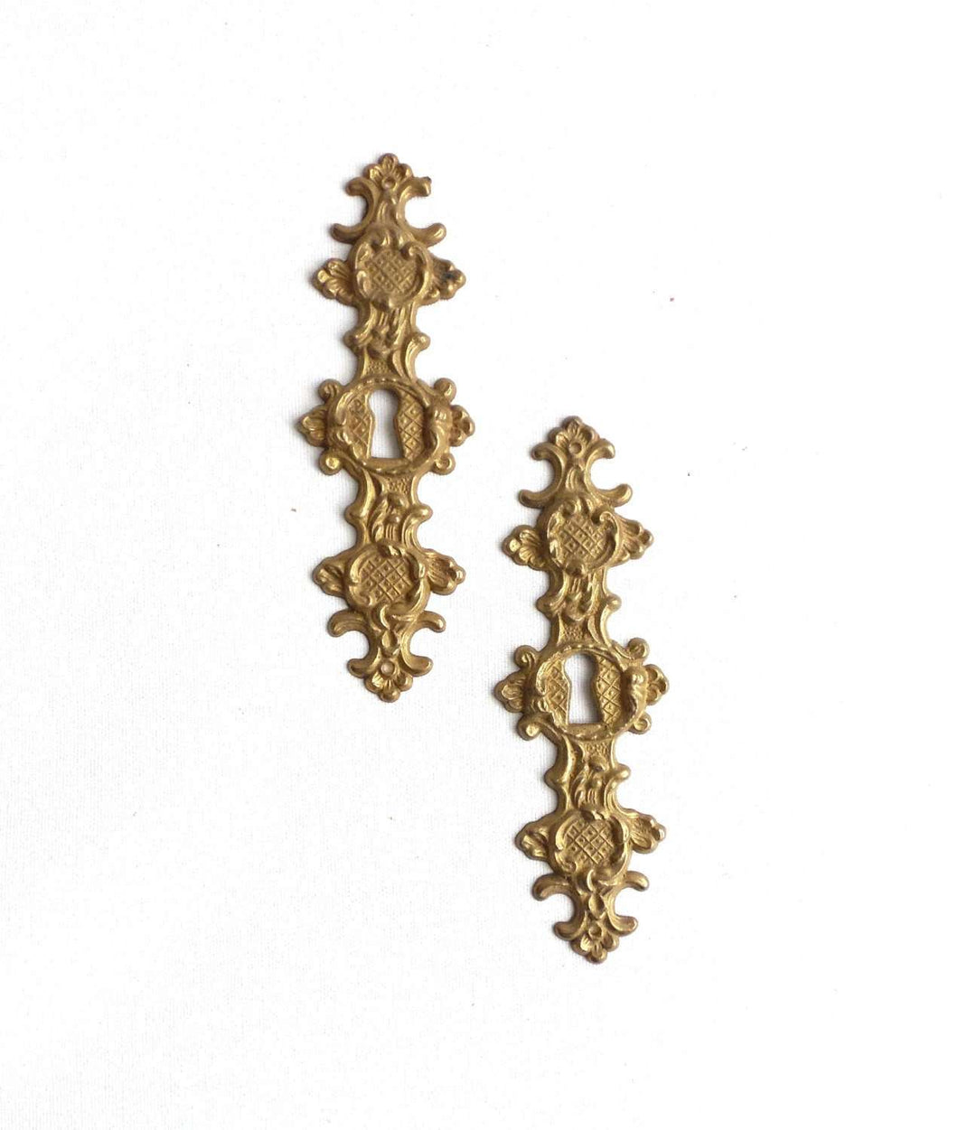 UpperDutch:Hooks and Hardware,Set of 2 Solid Brass Keyhole covers, escutcheons, keyhole frames, plates. Keyhole cabinet door covers ornate style hardware.