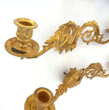 UpperDutch:Candelabras,Piano Sconses, Pair Antique Gilded Brass French Candle holders, Victorian Candle wall sconce.