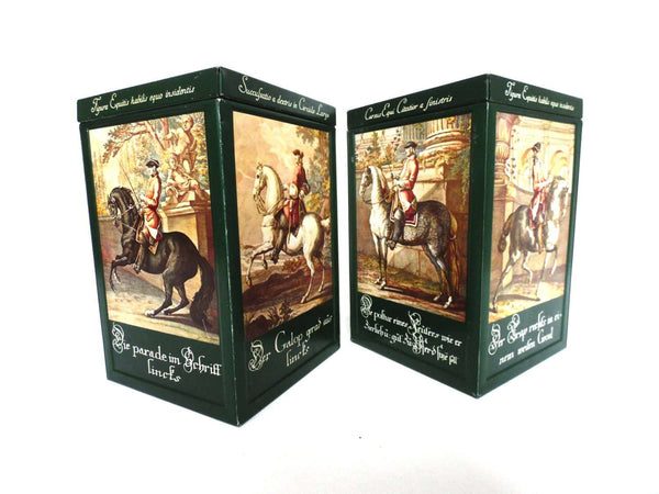 UpperDutch:Tin,Horse tins, set of two tins showing works of the German famous artist Johann Elias Ridinger (1698-1767).Equestrian themed storage