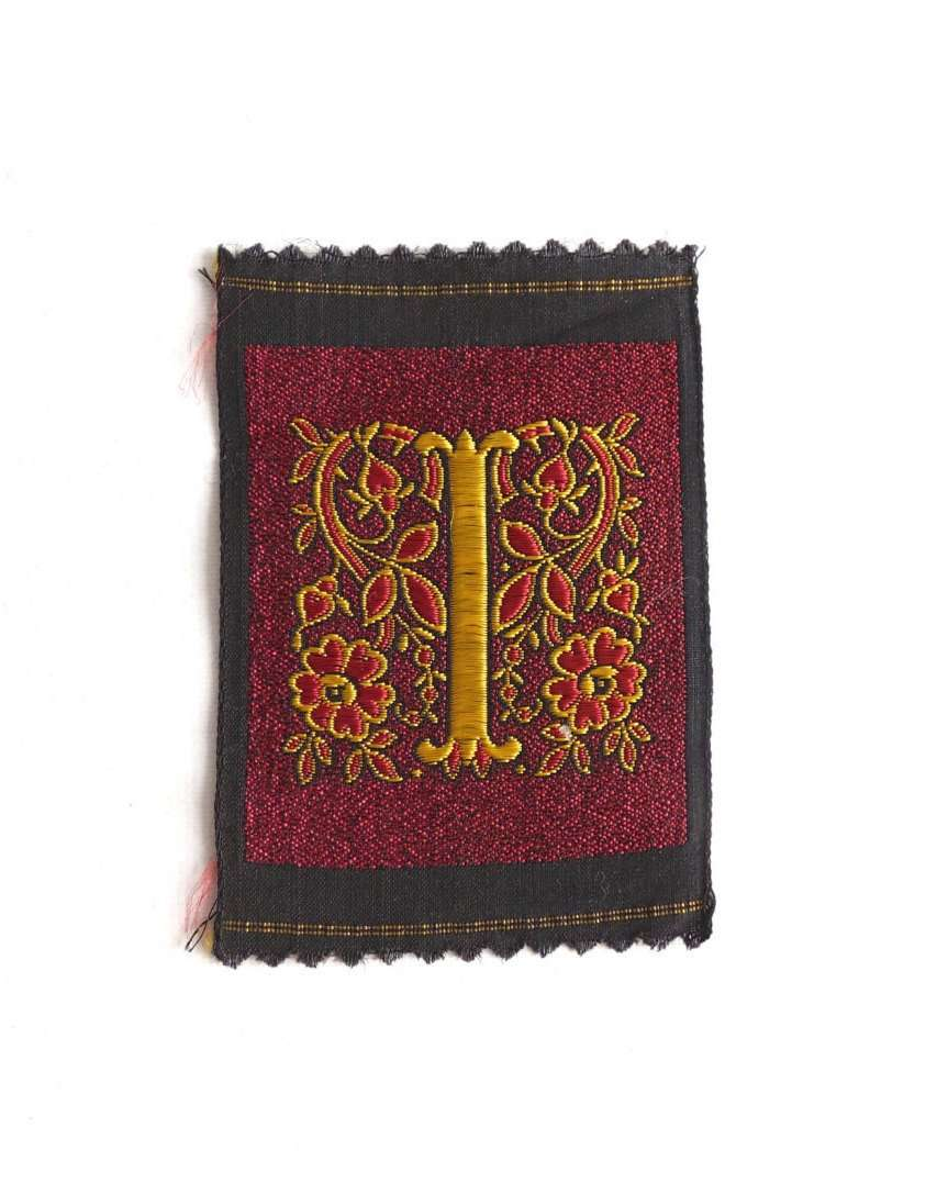 UpperDutch:Sewing Supplies,Monogram I Applique  1930s Vintage Embroidered 'Letter I' applique. Alphabet Patch / Monogram application, antique letter.
