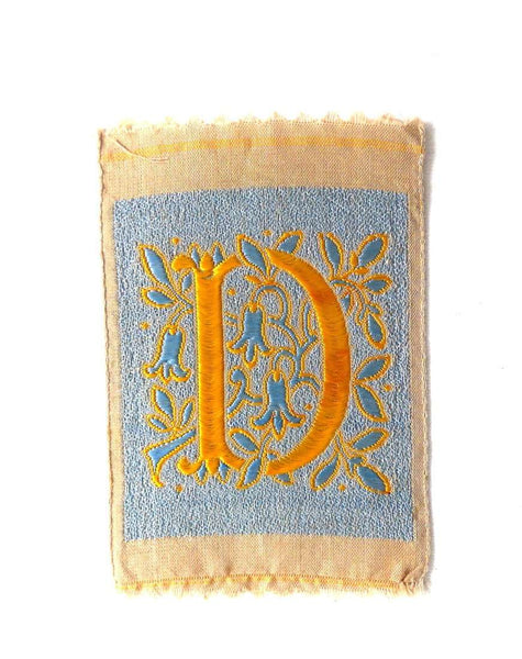 UpperDutch:Sewing Supplies,Letter D, monogram Applique,  1930s Vintage Embroidered applique. Alphabet letter D Patch / Monogram application, antique letter.