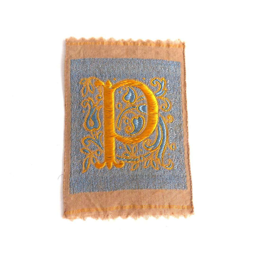 UpperDutch:Sewing Supplies,Monogram P Applique, 1930s Vintage Embroidered 'Letter P' applique. Alphabet Patch / Monogram application, antique letter.