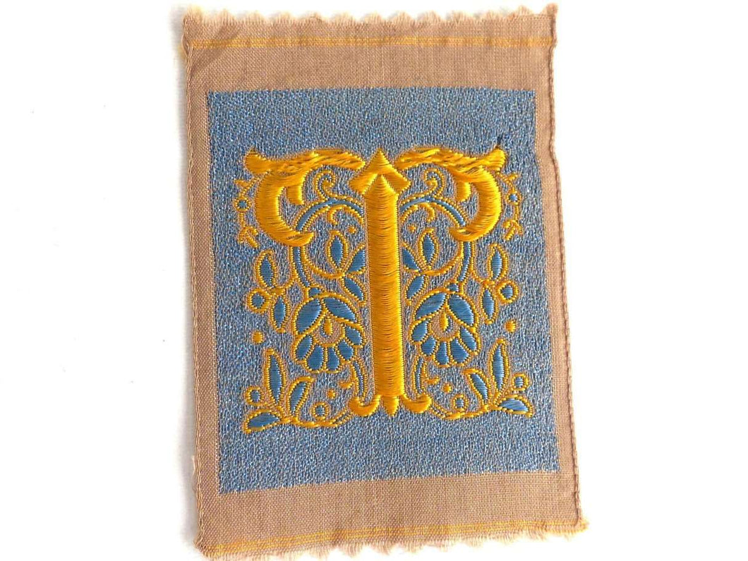 UpperDutch:Sewing Supplies,Letter T, Monogram Applique, 1930s Vintage Embroidered 'Letter T' applique. Alphabet Patch / Monogram application, antique letter