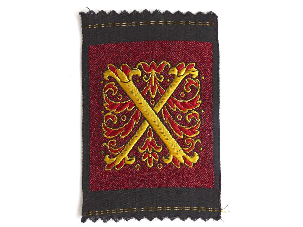 UpperDutch:Sewing Supplies,Monogram X Applique, 1930s Vintage Embroidered 'Letter X' applique. Alphabet Patch / Monogram application, antique letter.