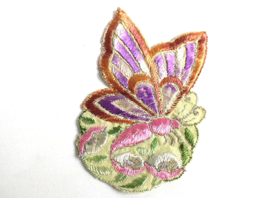 UpperDutch:Sewing Supplies,Applique, butterfly applique, 1930s vintage embroidered applique. Vintage floral patch, sewing supply.