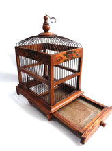 UpperDutch:Birdcage,Bird Cage, Antique handmade primitive French Bird Cage, Antique French Home Decor, Wood and metal Birdcage.