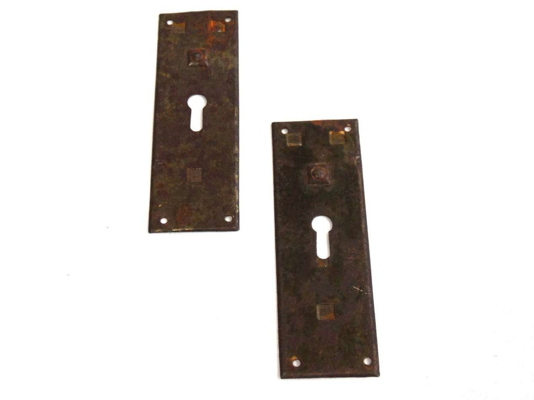 UpperDutch:Hooks and Hardware,Set of 2 Rusty key hole plates, stamped escutcheon with authentic rustic patina. Distressed keyhole covers with rust. Hardware