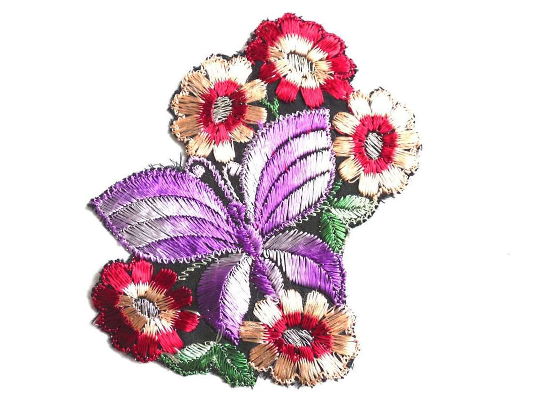 UpperDutch:Sewing Supplies,Applique, butterfly patch, 1930s vintage embroidered applique. Vintage floral patch, sewing supply.