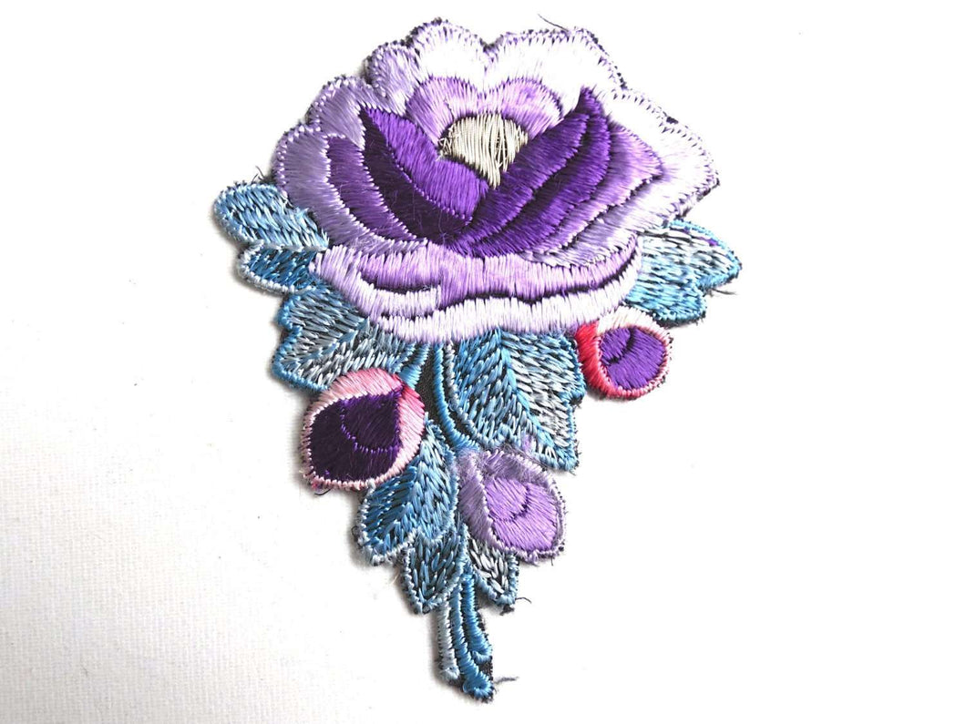UpperDutch:Sewing Supplies,Flower patch, 1930s vintage embroidered applique. Vintage purple - blue floral patch, sewing supply.