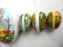 UpperDutch:Home and Decor,Easter Eggs - Set of 4 German Easter Paper Mache Eggs (largest 9 inch!) - Vintage Candy Containers