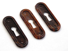 UpperDutch:Hooks and Hardware,1 Vintage Keyhole cover plastic rounded escutcheon key hole frame / plate. marbled brown