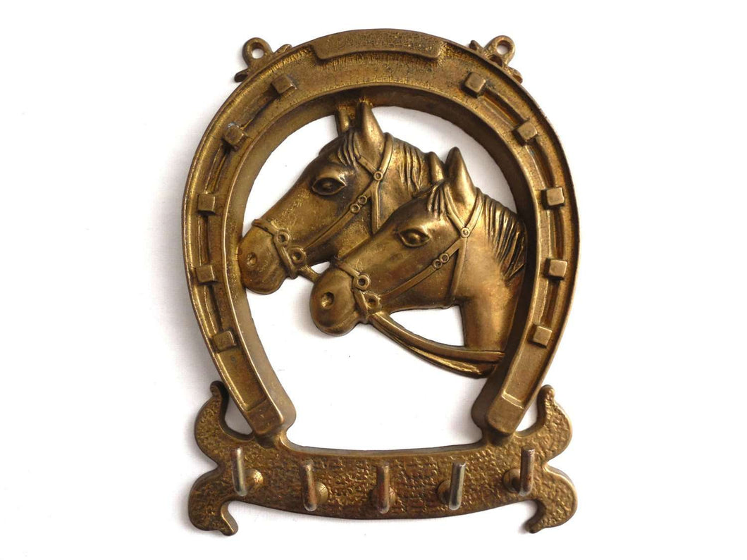 UpperDutch:Home and Decor,Key rack, brass Key Rack With a Horse, Horse Shoe, Equestrian rack. Horses, small hooks, key storage, horse decoration.
