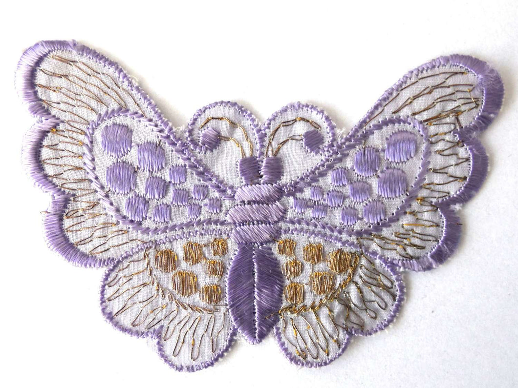 UpperDutch:Sewing Supplies,Applique,purple butterfly 1930s vintage embroidered applique. Vintage patch, sewing supply.
