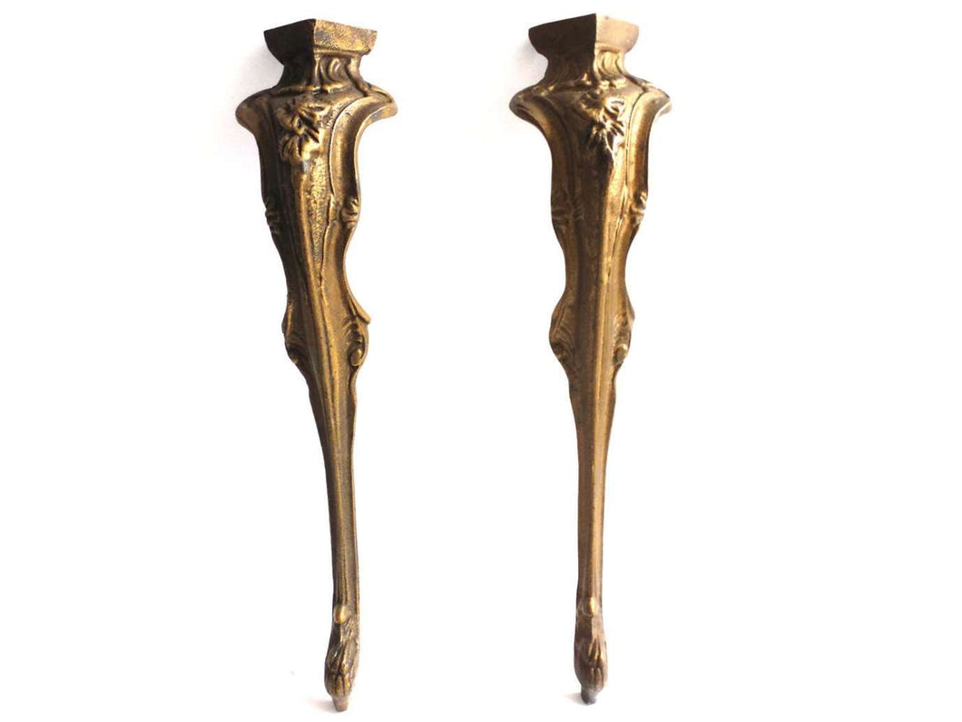 UpperDutch:Furniture,Table Legs. Set Of 2 Pcs Antique Brass Table Legs.