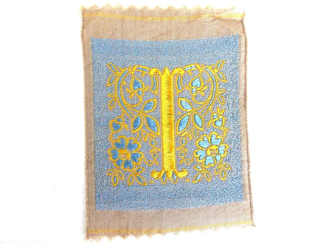 UpperDutch:Sewing Supplies,Monogram I Applique  1930s Vintage Embroidered 'Letter I' applique. Alphabet Patch, Monogram application, antique letter.