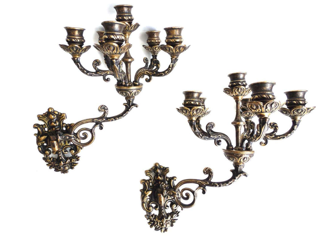 UpperDutch:Candelabras,Ornate wall Sconces, Pair Antique Solid Brass Victorian Wall sconces - 5 Arm Wall Candle Holders, Candle Wall Sconce.