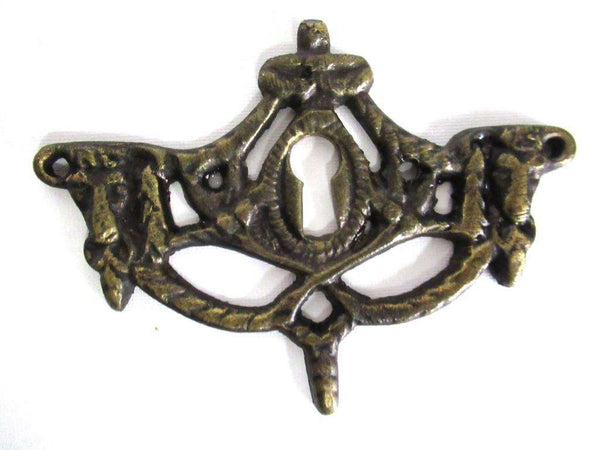 UpperDutch:Keyhole cover,1 (ONE) Antique Rams Head Keyhole cover, Antique brass escutcheon, keyhole frame, plate, goat, ram.