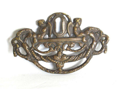 UpperDutch:Keyhole cover,Angel Escutcheon, Antique Brass Keyhole cover, keyhole frame plate, floral. Restoration furniture hardware. Home improvement.