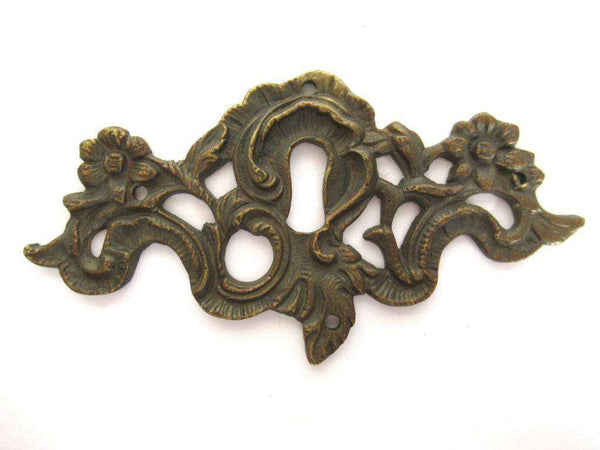 UpperDutch:Keyhole cover,Antique Brass Keyhole cover, escutcheon, keyhole frame plate, floral. Victorian, art nouveau furniture hardware.