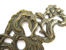 UpperDutch:,Antique Brass Keyhole cover, escutcheon, keyhole frame plate, floral. Victorian, art nouveau furniture hardware.