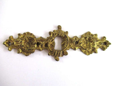UpperDutch:Hooks and Hardware,Antique Keyhole Cover Escutcheon Ornate brass keyhole frame Victorian style Cabinet hardware.