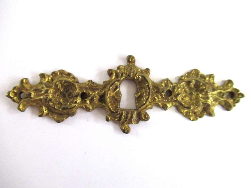 UpperDutch:,Antique Keyhole Cover Escutcheon Ornate brass keyhole frame Victorian style Cabinet hardware.