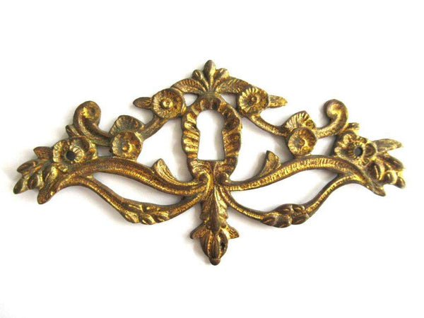 UpperDutch:Keyhole cover,Escutcheon, Antique Brass Keyhole cover, keyhole frame plate, floral. Victorian furniture hardware.