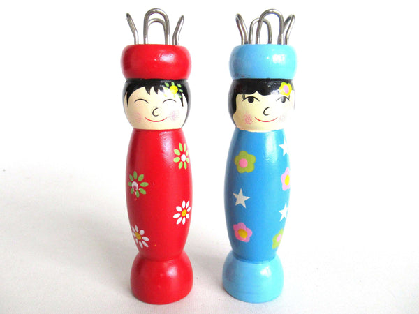 UpperDutch:Knitting doll,Set of 2 Wooden Knitting Dolls French Knitting Bobbin Doll Sewing supply, Knitting Nancy.