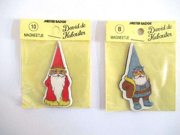 UpperDutch:Magnet,Set of 2 Gnome magnets, Brb, David the Gnome, Rien Poortvliet.