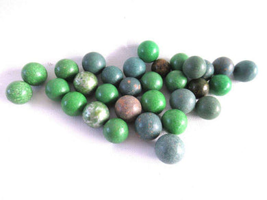 UpperDutch:Marbles,Green Marbles, Set of 30 green Antique Clay Marbles.