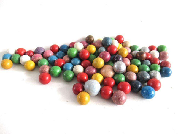 UpperDutch:Marbles,Set of 100 Antique Clay Marbles.