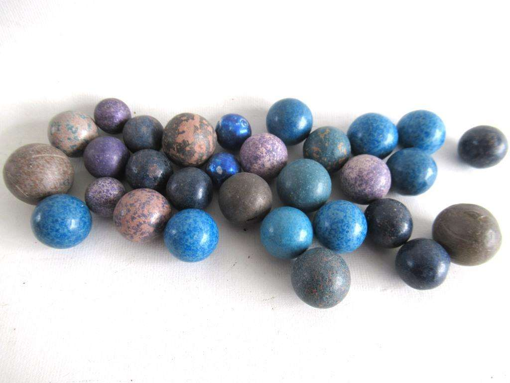 UpperDutch:Marbles,Set of 30 Antique Clay Marbles.