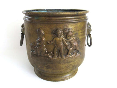 UpperDutch:Planter,Antique Brass Victorian Planter with Putti Angels cherubs Lion Handles, Brass Planter, Copper Pot, Antique Copper Planter