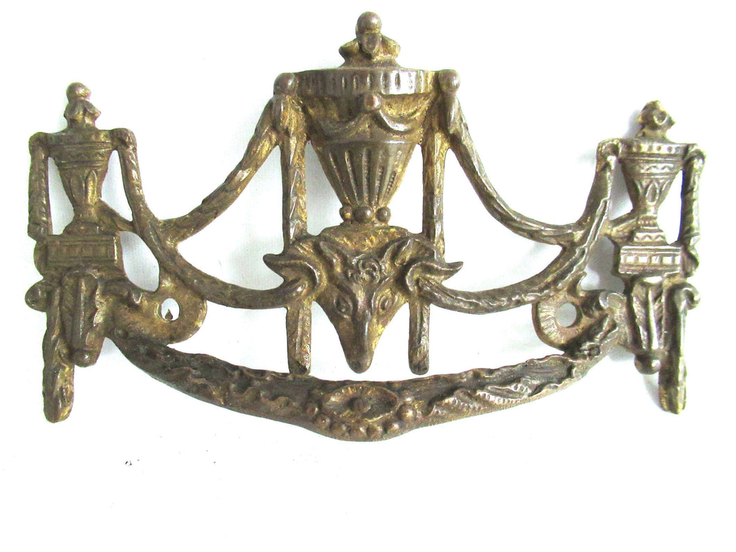 UpperDutch:Drawer handle,1 (ONE) Antique Solid brass Ornate Drawer Handle. Ornamental Furniture Applique. Empire embellishment. Restoration hardware
