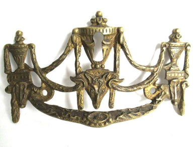 UpperDutch:Pull,1 (ONE) Antique Solid brass Ornate Drawer Handle with Key hole. Ornamental Furniture escutcheon. Empire keyhole embellishment.