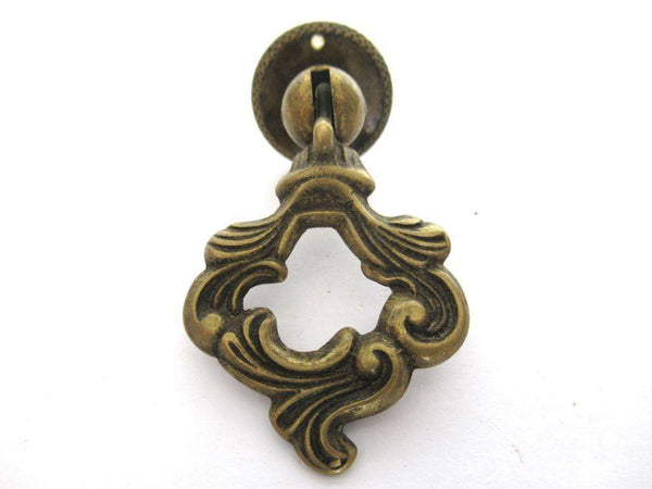 UpperDutch:Pull,Antique Solid Brass Drawer Pull / Drop Ring Drawer Handle.