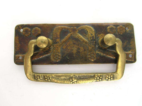 UpperDutch:Pull,Authentic Brass Antique Drawer Handle, Old Plate, Escutcheon, Drop pull.