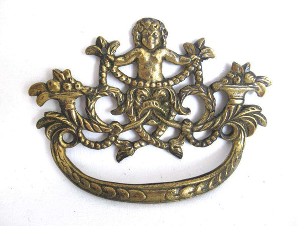 UpperDutch:Pull,Drawer Handle with cherub, Antique Ornate drawer handle, Escutcheon, Floral Brass Drawer handle, Furniture Applique.