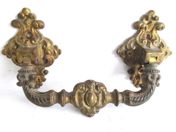 UpperDutch:Pull,Large Massive Antique Ornate Brass Cabinet Pull, Door Handle, Hardware, Ormolu Drawer Handle.