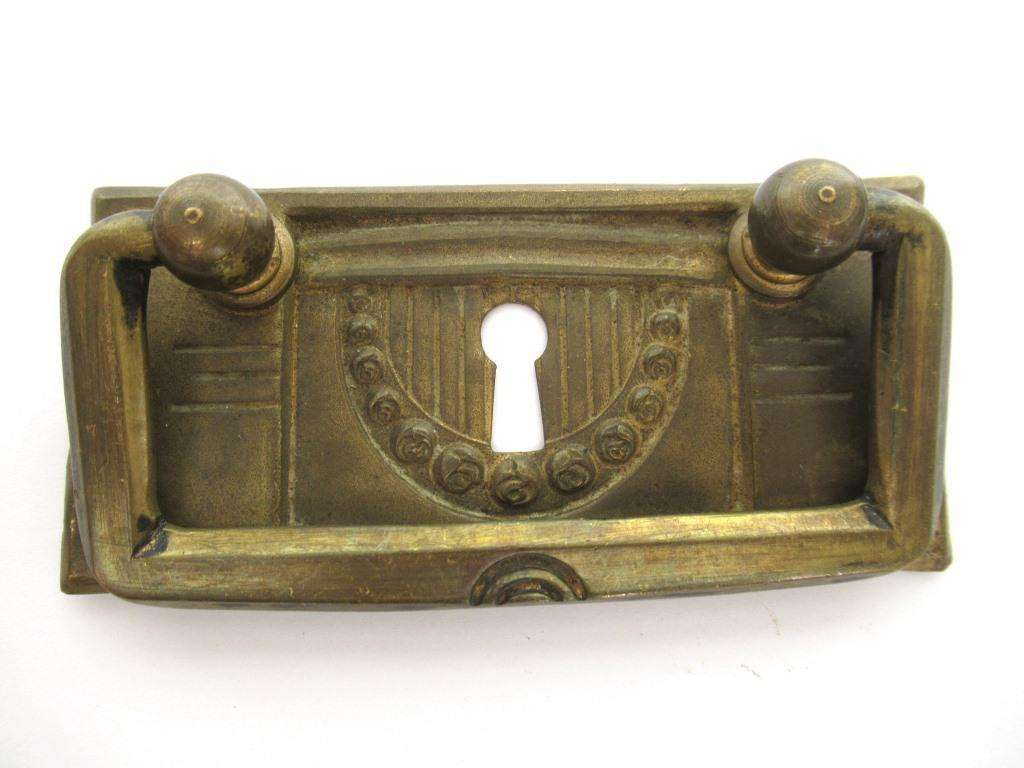 UpperDutch:Pull,Restoration Hardware. Art Deco Antique Cabinet Drawer Drop Pull, Escutcheon